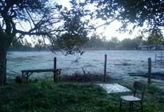 Leitor registrou a geada em Dilermando de Aguiar, na região Central-Arlei Silveira, De Olho no Tempo