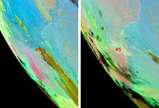 Imagens do satélite das 12h de ontem (à esquerda) e das 6h de hoje mostram a evolução das cinzas no sul do continente-Meteosat, Divulgação