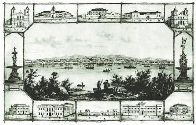 Litografia de Balduin Röhrig, de 1865, alusiva à visita de Dom Pedro II à Capital, reproduz fontes que sumiram da cidade.