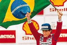 Senna no pódio do GP do Brasil em 1991, em Interlagos-Genaro Jones
